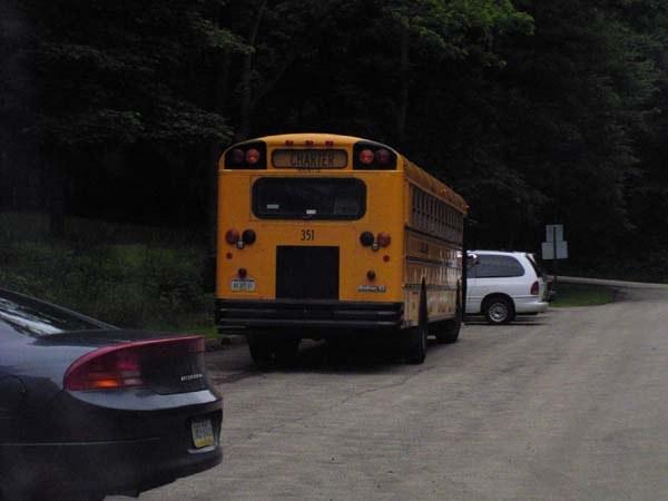 Shuttle bus waits for finishers