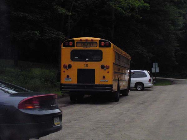 Shuttle bus waits for finishers