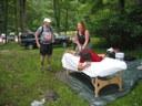 Denise Hluhan offered free massages!
